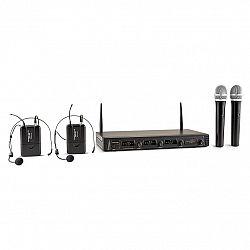 Auna Pro Duett Quartett Fix, V2, 4-kanálový UHF bezdrôtový mikrofónový set, dosah 50 m