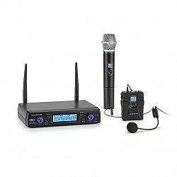 Auna Pro UHF200C-2B, sada 2-kanálových UHF bezdrôtových mikrofónov, prijímač, 2 x vreckový vysielač/headset