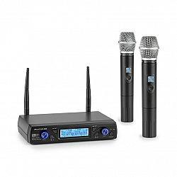 Auna Pro UHF200C-2H, sada 2-kanálových UHF bezdrôtových mikrofónov, prijímač, 2 x ručný mikrofón, čierna