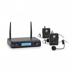 Auna Pro UHF200C-HB, sada 2-kanálových UHF bezdrôtových mikrofónov, prijímač, ručný mikrofón, vysielač