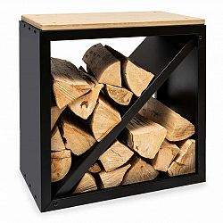 Blumfeldt Kindlewood S Black, stojan na drevo, lavička, 57 × 56 × 36 cm, bambus, zinok