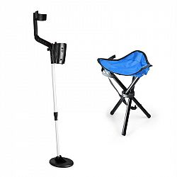 DURAMAXX Basic Blue, sada na hľadanie pokladov, detektor kovov + kempovacia stolička, 16,5 cm sonda