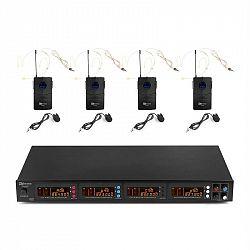 Power Dynamics PD504B, sada UHF bezdrôtových mikrofónov, 4 x headset + vreckový vysielač, 4 x 50 kanálov
