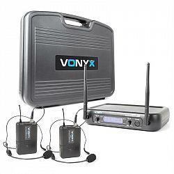 Vonyx WM73H, bezdrôtový mikrofónový systém, 2-kanálový, 2 x vreckový vysielač sheadsetom